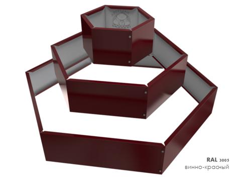 Клумба многоугольная оцинкованная Альпийская горка 3 яруса RAL 3005 Винно-красный