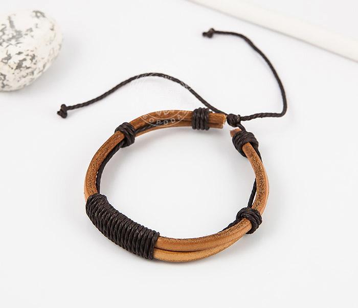 SL0007-BRN Оригинальный мужской браслет «Spikes» на затяжках из натуральной кожи фото 02
