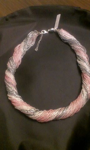 Бисерное ожерелье из 36 нитей, цвет серо-розовый