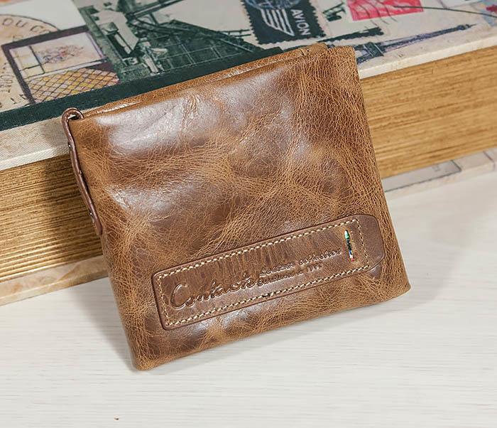 WL261-2 Винтажный мужской кошелек из натуральной кожи на застежке