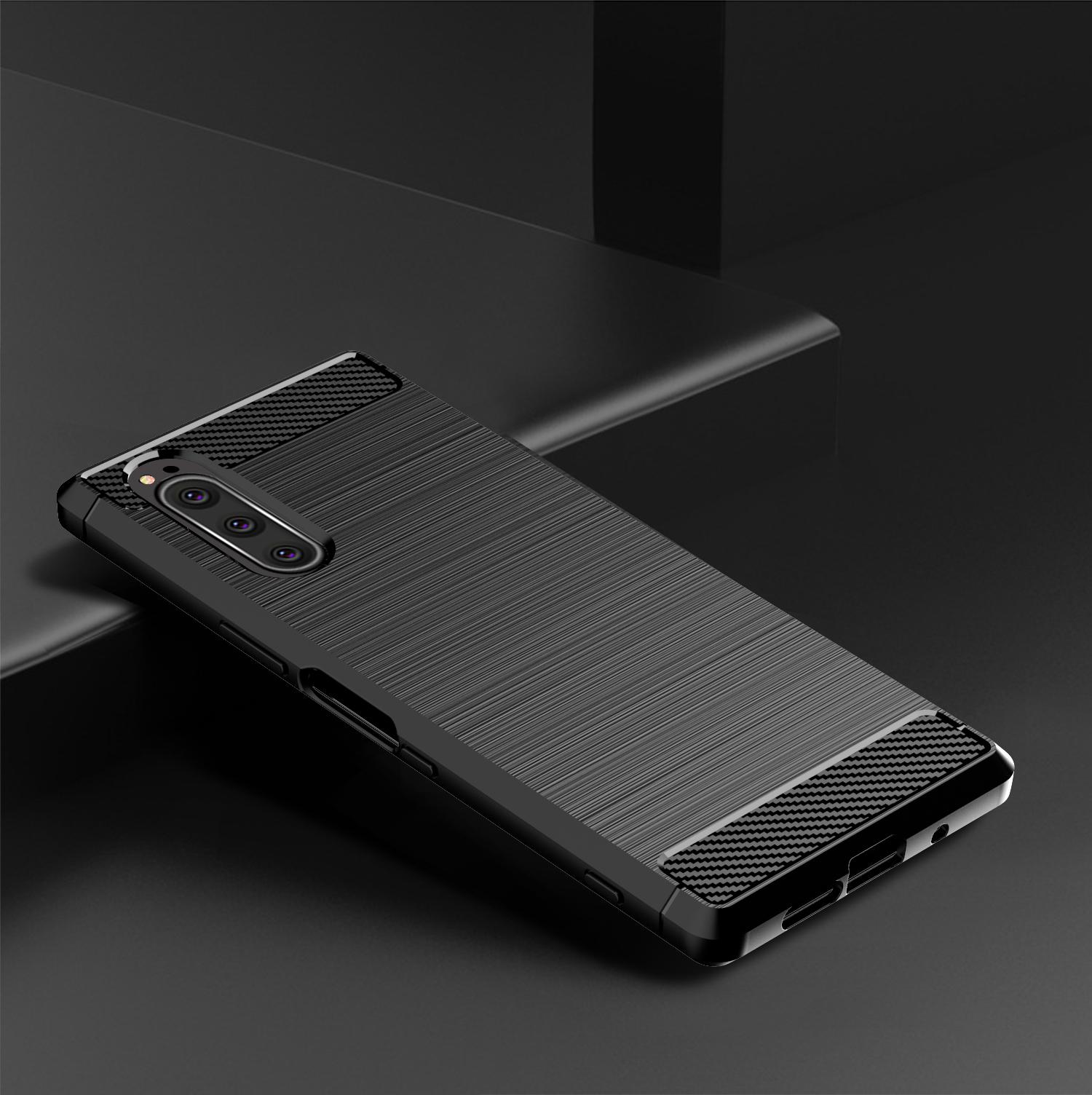 Чехол Sony Xperia 5 цвет Black (черный), серия Carbon, Caseport