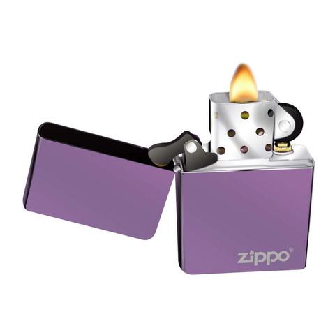 Зажигалка Zippo L с покрытием Abyss, латунь/сталь, сиреневая с фирменным логотипом