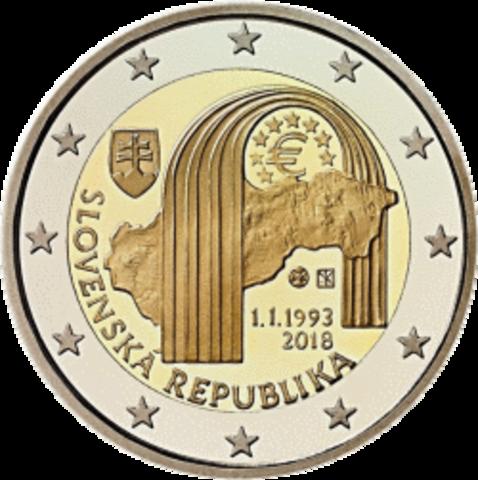 2 евро 2018 Словакия - 25 лет Республике