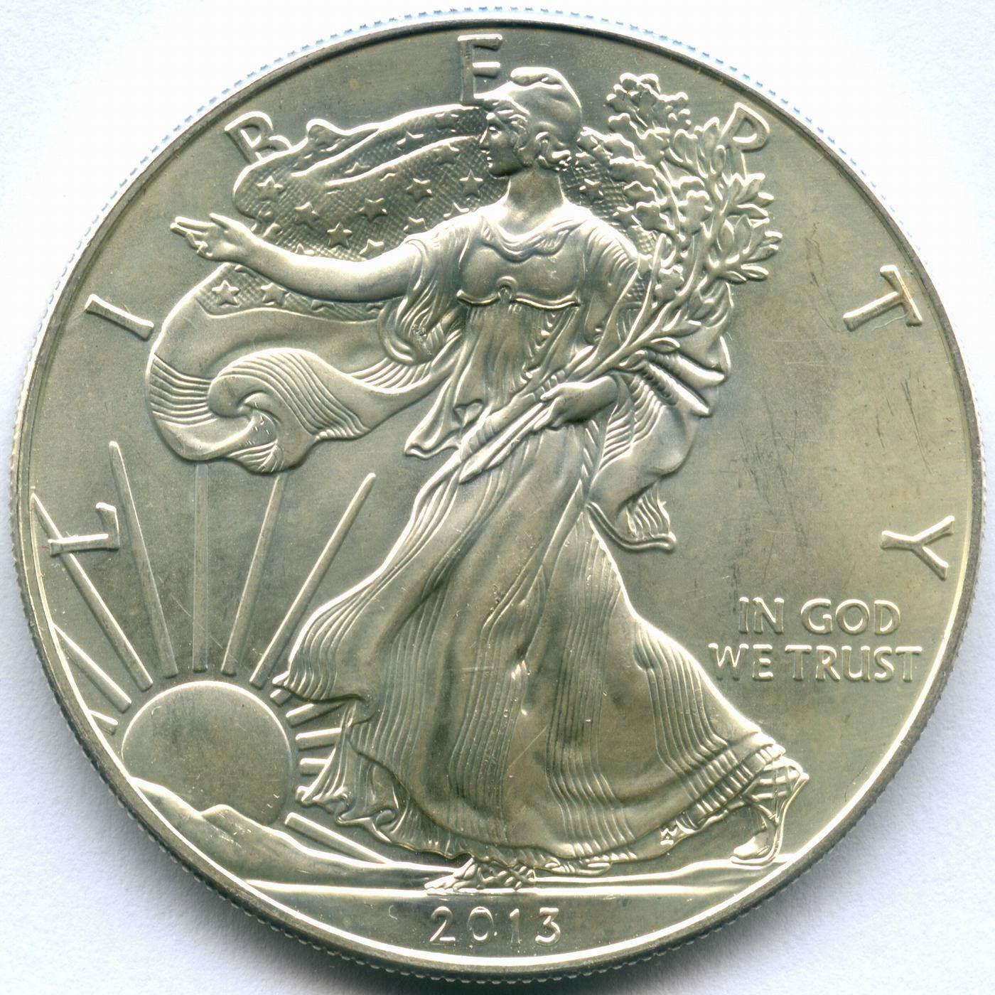 """1 доллар 2013 год США """"Шагающая свобода"""" AU"""