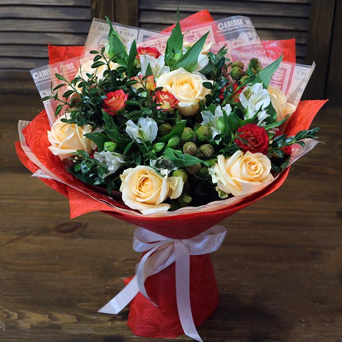 Купить букет с персиковыми розами в Перми