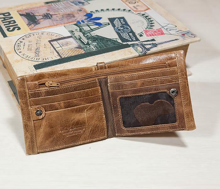 WL261-2 Винтажный мужской кошелек из натуральной кожи на застежке фото 02
