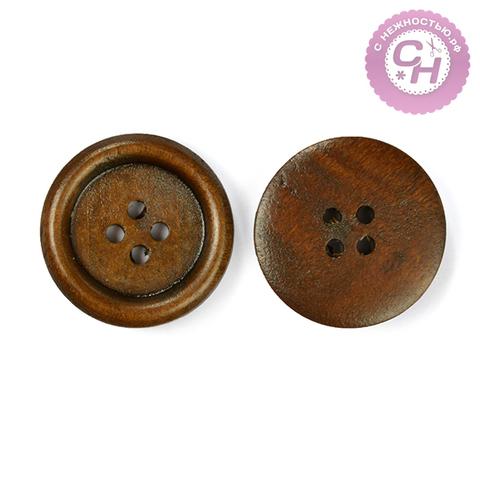 Пуговицы деревянные круглые, 2,5 см, 4 прокола, 1 шт.