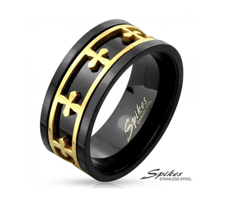 R-M4296 Мужское черное кольцо со вставкой золотого цвета (вращается). «Spikes»