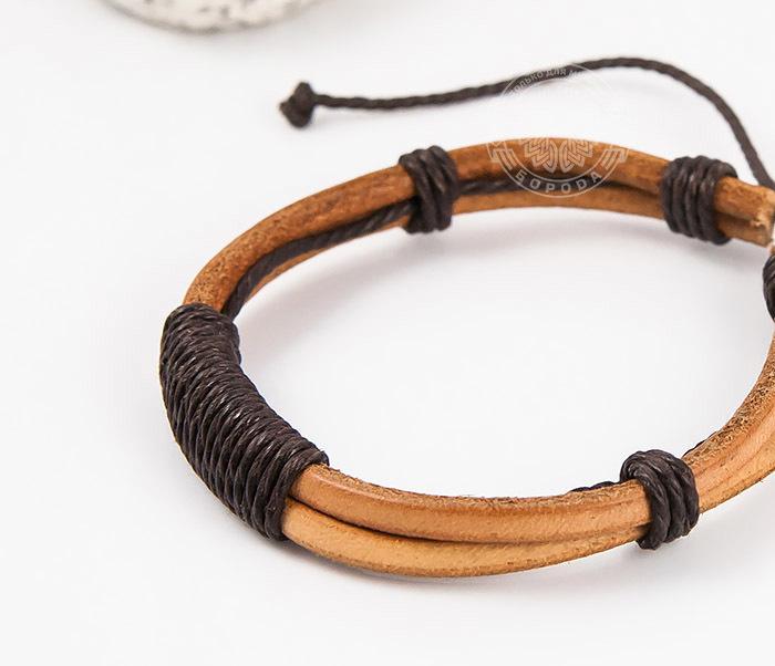 SL0007-BRN Оригинальный мужской браслет «Spikes» на затяжках из натуральной кожи фото 04