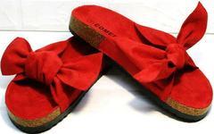 Красивые женские шлепки сандалии с бантом Comer SAR-15 Red.