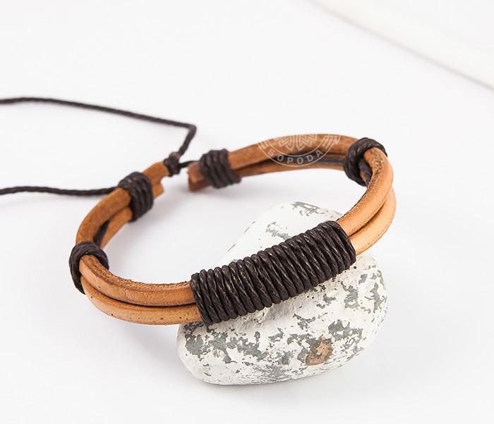 SL0007-BRN Оригинальный мужской браслет «Spikes» на затяжках из натуральной кожи фото 05
