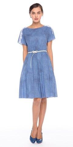 Фото пляжное голубое платье расклешенного силуэта с кружевом - Платье З178-728 (1)