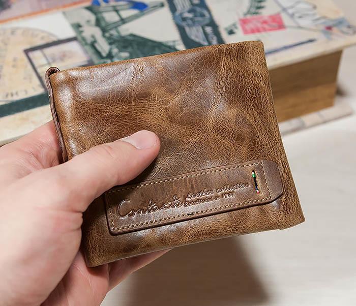 WL261-2 Винтажный мужской кошелек из натуральной кожи на застежке фото 04