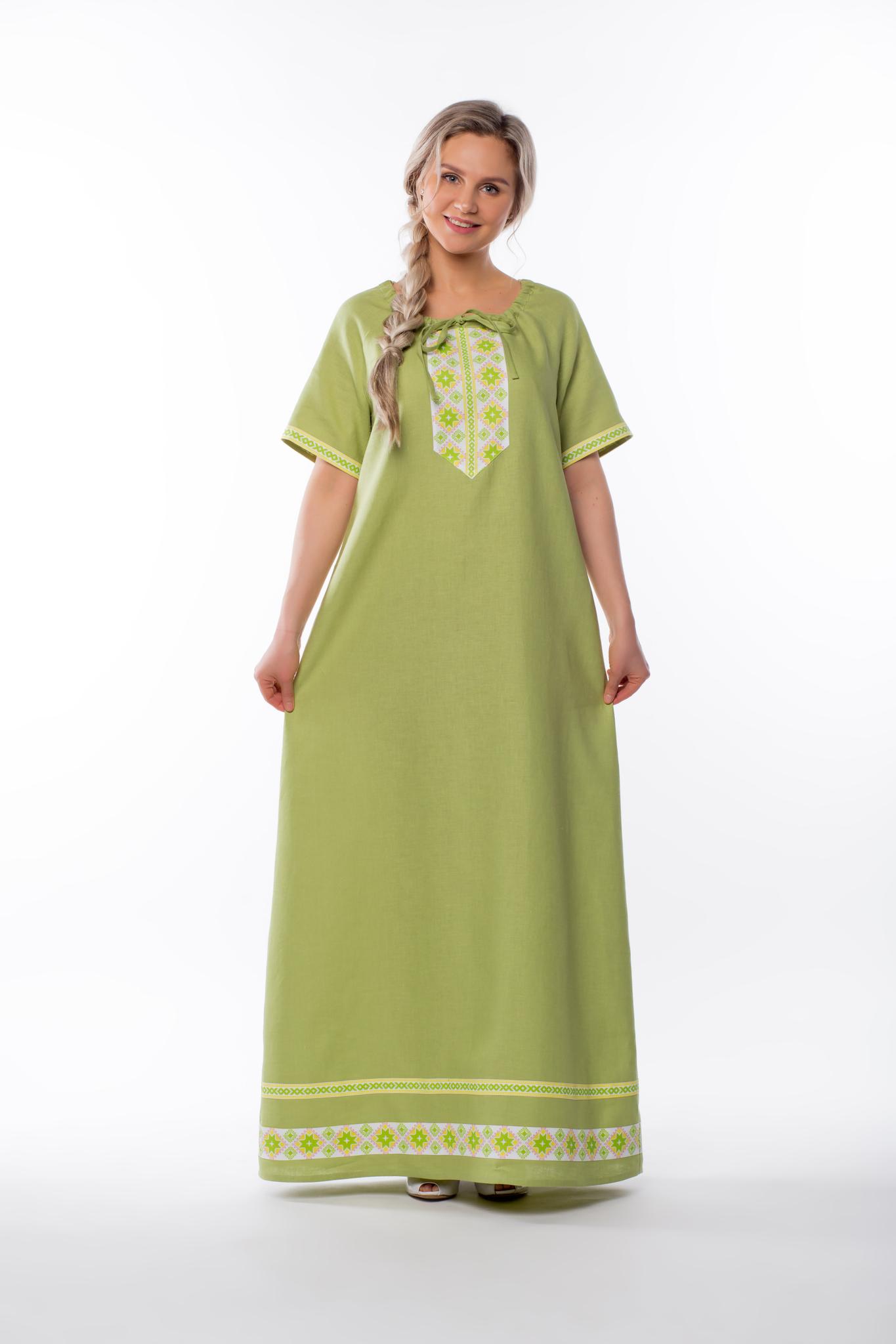 Платье льняное Папоротник без пояса