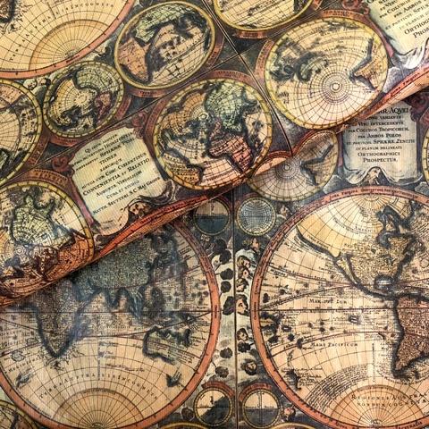 Бумага упаковочная крафт Карта мира