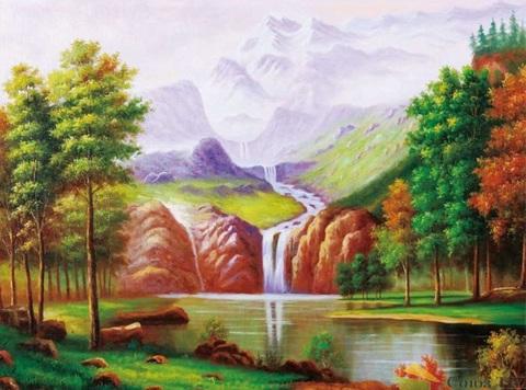Алмазная Мозаика + Багет 40x50 Водопад в горах