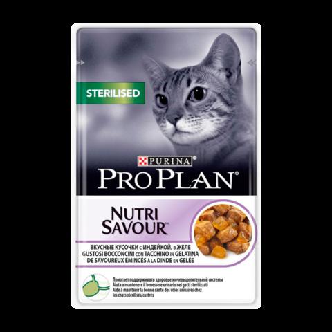 Purina Pro Plan Sterilised Консервы для стерилизованных кошек и кастрированных котов с Индейка в желе (Пауч)