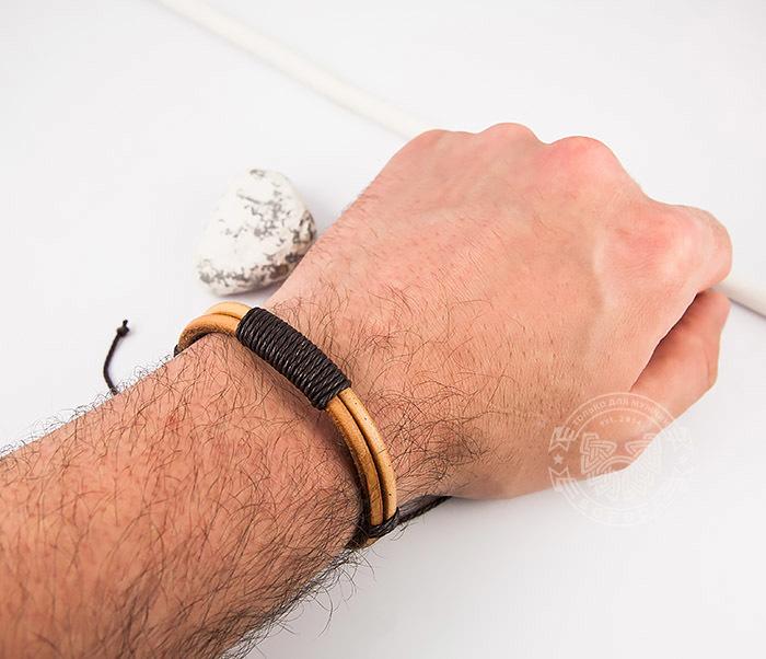 SL0007-BRN Оригинальный мужской браслет «Spikes» на затяжках из натуральной кожи фото 06