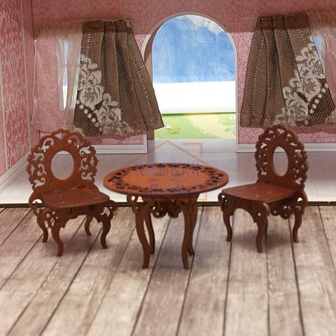 ЯиГрушка Стол и два стула (коричневый) арт.59406