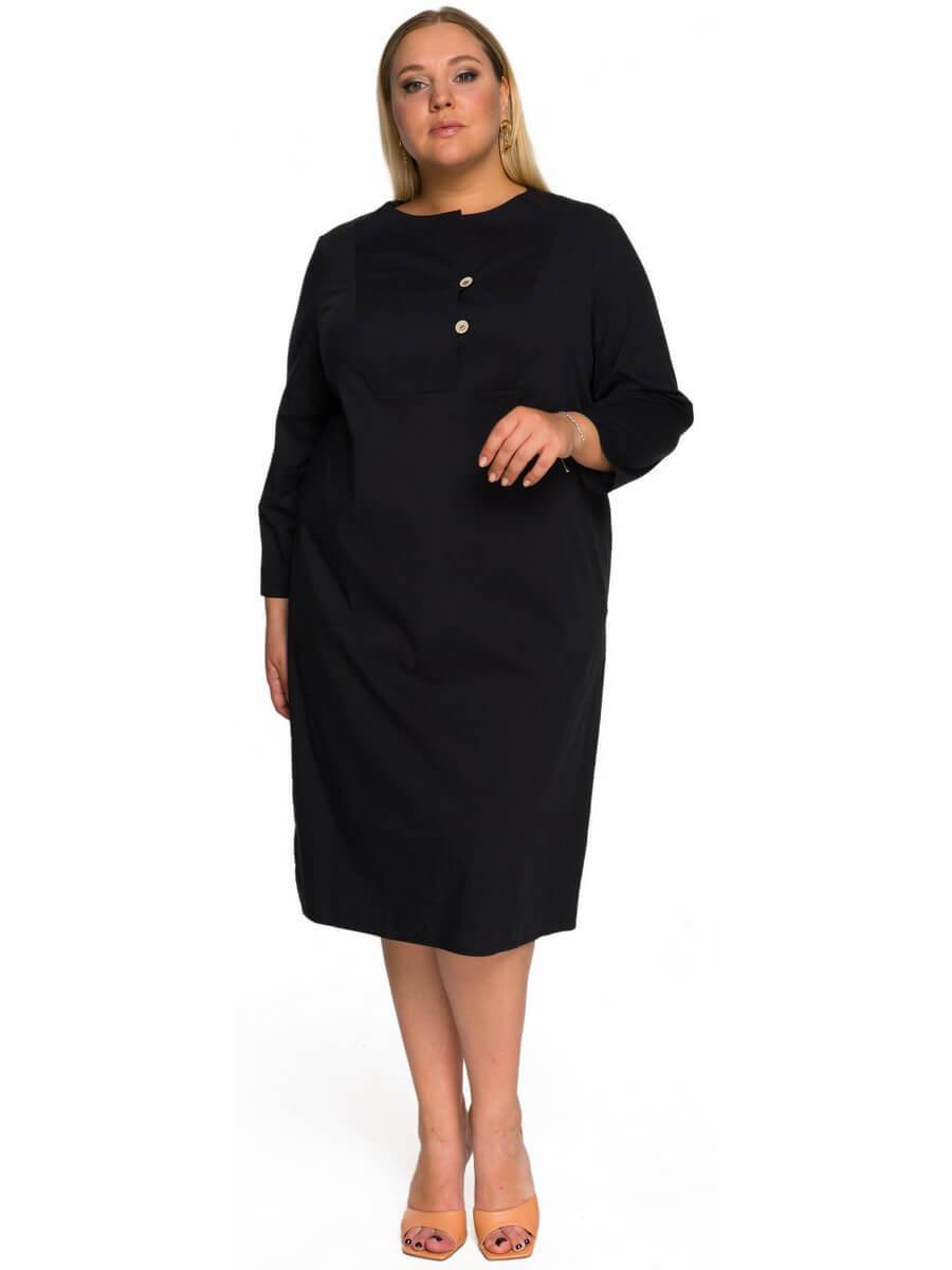 Платье-туника из хлопка, черное