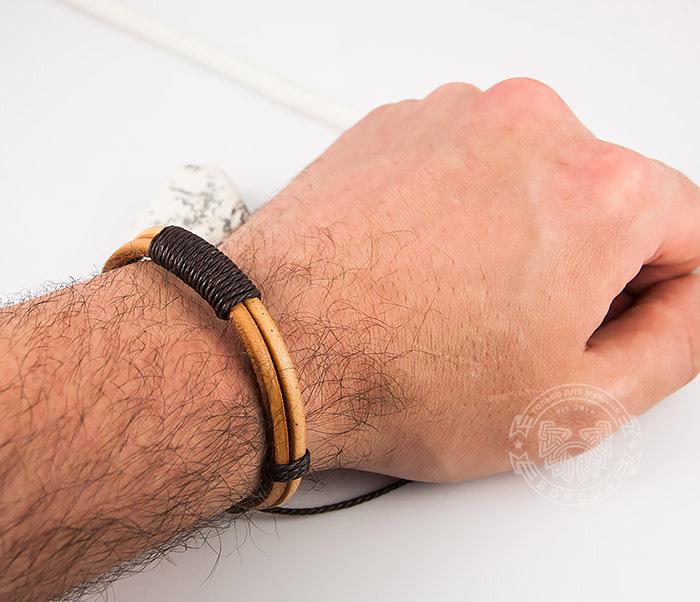 SL0007-BRN Оригинальный мужской браслет «Spikes» на затяжках из натуральной кожи фото 07