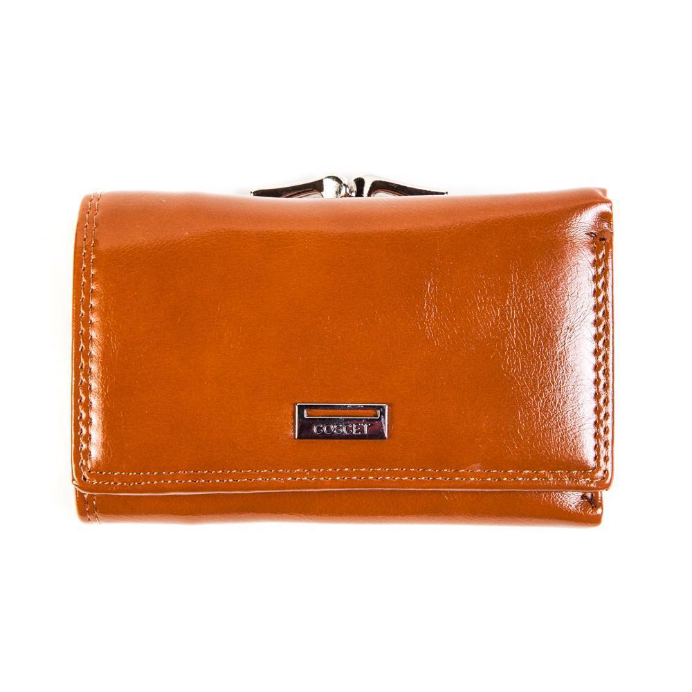 Стильный оранжевый женский кошелёк из из искусственной кожи с клапаном на кнопке, 2 кармашками для пластиковых карт, 1 отделением для пропуска, 2 потайными карманами, 2 отделениями для денег и 1 на молнии, местом для 2 SIM-карт, отделением для мелочи снаружи CS208-02D