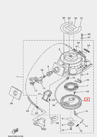 Барабан заводной для лодочного мотора F20 Sea-PRO (10-5)