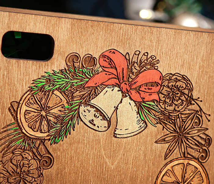 BOX255-2 Новогодняя коробка для подарков с венком (17*17*7 см) фото 03
