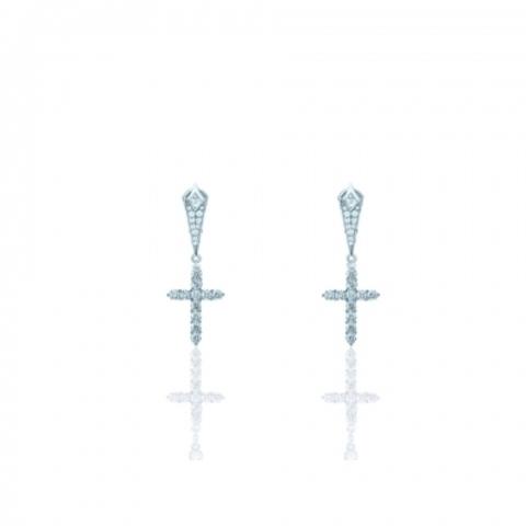 85197 -Серьги CROSS из серебра с подвесками Кресты с цирконами бриллиантовой огранки