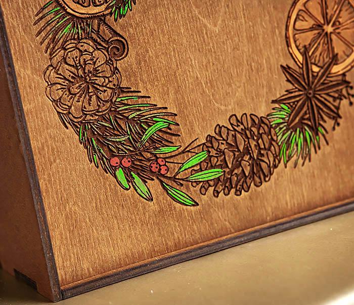 BOX255-2 Новогодняя коробка для подарков с венком (17*17*7 см) фото 04