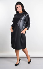 Діор. Комбінована сукня для великих розмірів. Чорний.