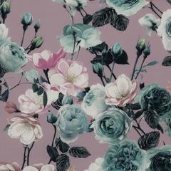 Лиловый плательный шёлк с розами и цветами шиповника