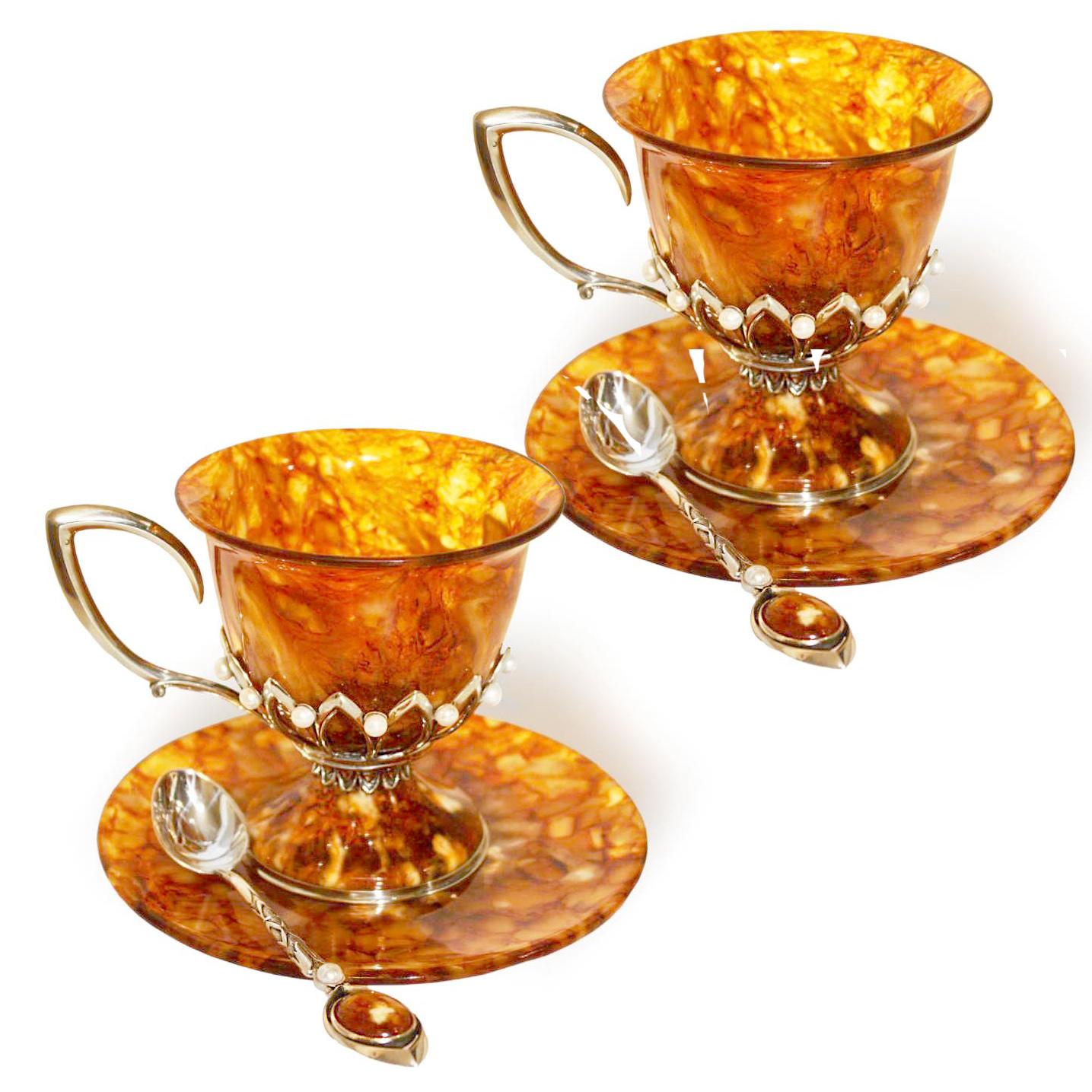 Чашка чайная из янтаря с ложкой «Императрица»