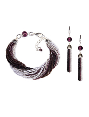 Комплект украшений из бисера черно-фиолетовый (серьги из бисера, бисерный браслет)