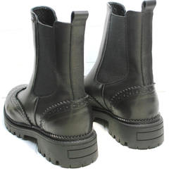 Весенние ботинки женские Jina 7113 Leather Black