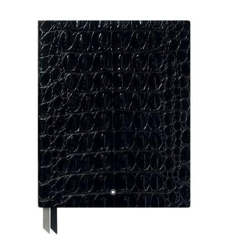 Записная книжка #149 Croco Print, блестящая кожа черного цвета, линованные страницы