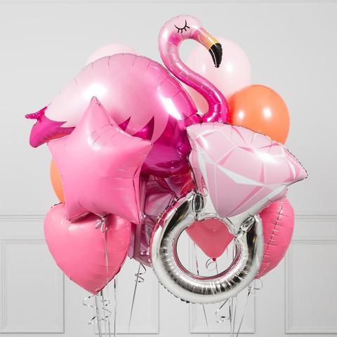 Сет воздушных шаров с гелием Розовый фламинго