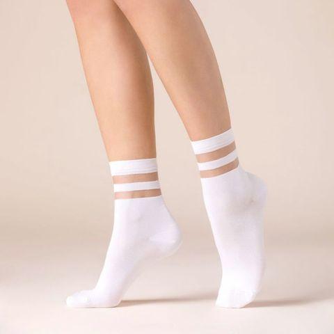 Носочки с резинкой в полоску Cami белые