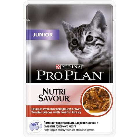 Влажный корм для котят Purina Pro Plan Junior Kitten Feline with Beef pouch в соусе 0,085 кг