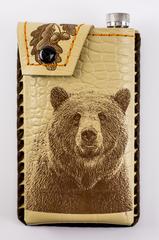 Фляга в кожаном чехле Медведь, 350 мл, фото 6