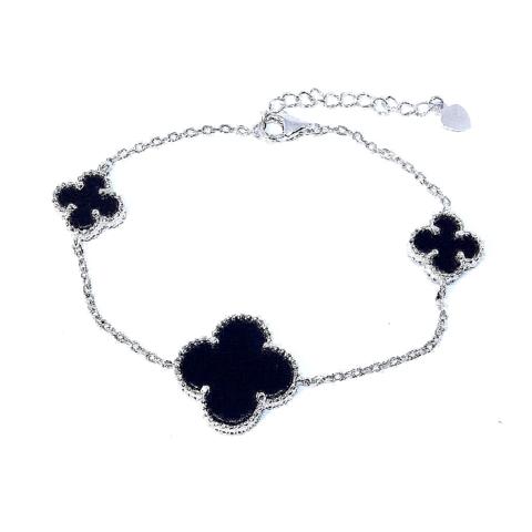 62407- Браслет Trendy из серебра 3 мотива (черные вставки)
