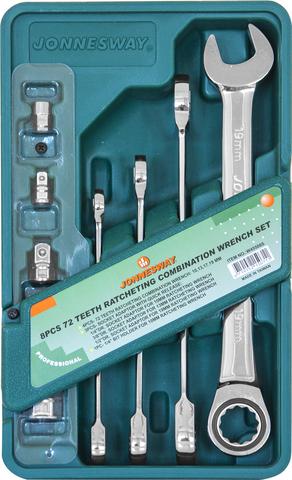 W45508S Набор ключей гаечных комбинированных трещоточных с аксессуарами на держателе, 10-19 мм, 8 предметов