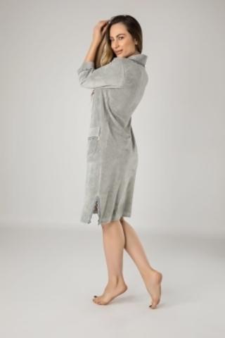 Халат женский  велюровый на молнии 0321 серый NUSA Турция
