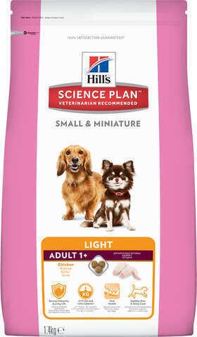 купить Хиллс Hill's Science Plan™ Dog Adult Small & Miniature Light сухой корм для собак миниатюрных пород, склонных к набору лишнего веса с курицей 1.4 кг