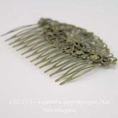 Гребень, основа для заколки с филигранью, 81х52 мм (цвет - античная бронза)