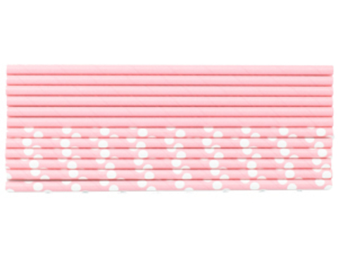 1502-3951 Трубочка д/кокт бум Горошек розовая12штG