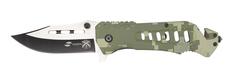 Нож складной Stinger, 88 мм (серебристый), рукоять: алюминий (зеленый камуфляж), картонная коробка