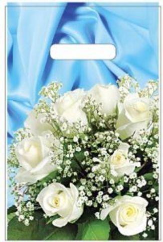 Пакет полиэтиленовый с вырубной неусиленной ручкой 20х30 (35) (Букет белых роз)