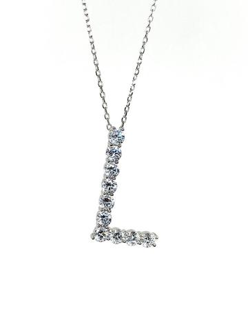 31684- Подвеска из серебра буква L с цирконами бриллиантовой огранки