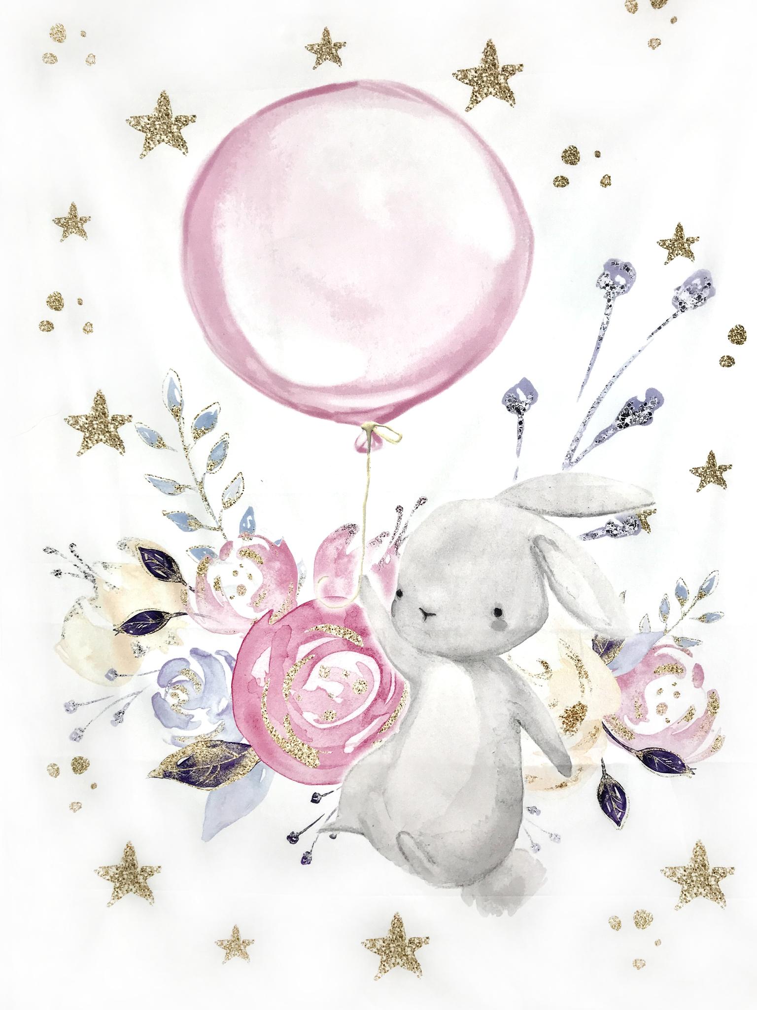 Панель(купон) зайц и цветы и возд. шар-75*100 см